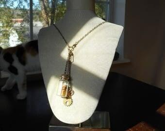 Steampunk Bottle / Gear / Charm Necklace