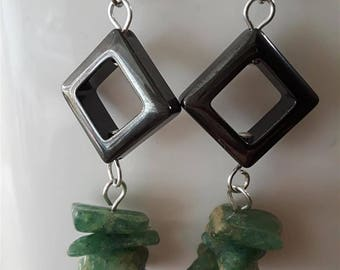 Hematite Diamonds with Dangling Green Stones Earrings