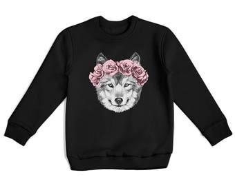 Wolf Sweatshirt Tumblr Sweatshirt Vintage Sweatshirt Unisex Sweater With Flowers Succulent Hype Clothing Grey Crewneck Casual Style BP2037