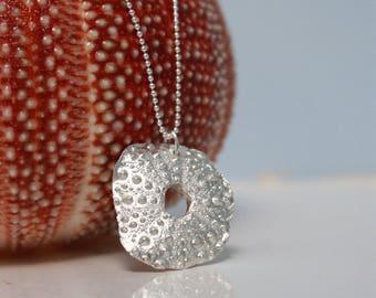 Pure silver sea urchin pendant