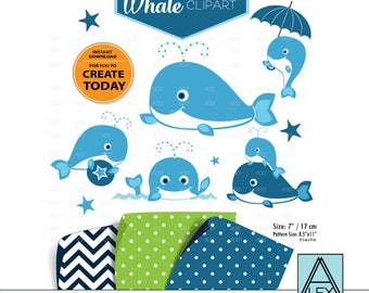 Navy Blue Whale Clip Art, squirt clip art, nautical, cute whale fish sea art nursery, decor instant download commercial use, sea, underwater