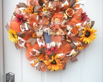 Fall Wreath with Scarecrows