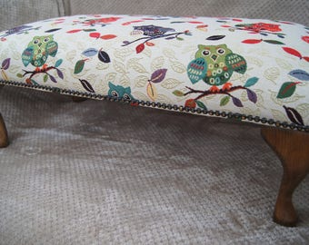 Large Traditional Footstool with Queen Anne legs