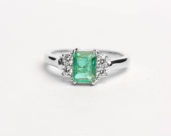 Emerald Moissanite Ring in Silver