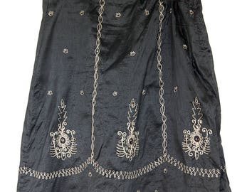 VINTAGE INDIAN EMBROIDERED silk skirt