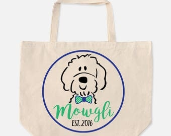 Personalized Custom Goldendoodle ,Labradoodle, Bernedoodle Canvas Jumbo Overnight, Toy, Tote Bag with Bow Tie ,