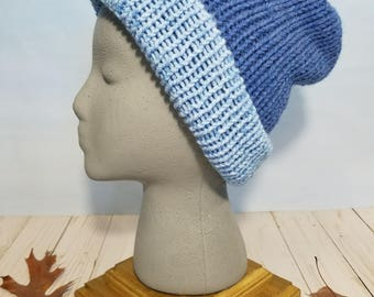 Reversible Knit Hat, Beanie and Slouchy- Medium Blue / Light Blues