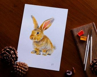 Baby Bunny Watercolor Animal Lover Gift Bunny Rabbit Watercolor Painting Nursery Wall Art Woodland Forest Animal Wall Decor Bunny Lover Gift