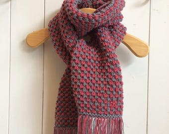Grey and pink/red wool scarf