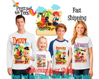 PIRATE Birthday BOY Theme Family WHITE Shirts For the Entire Family Mom Dad Brother and More T-shirts Long/ Short sleeve Raglan Pirates