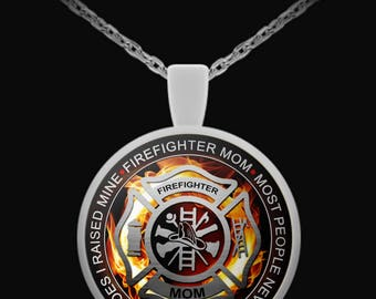 Firefighter Mom Necklace Pendant