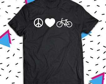 Peace Love Bicycle Shirt, Cyclist Shirt, Cycling T-Shirt, Funny Cyclist T-Shirt, Gift For Cyclist, Bicycle Shirt, Bicycle Lover Shirt