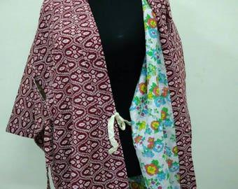 Japanese haori kimono red geometric kimono jacket /kimono cardigan/kimono robe/#047