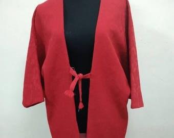Japanese haori kimono red floral geometric kimono jacket /kimono cardigan/vintage kimono robe/#059