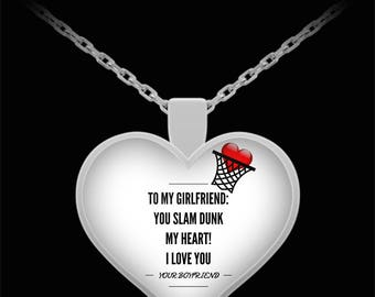 To My Girlfriend! Heart Pendant Shape, Premium Silver Plated Necklace.