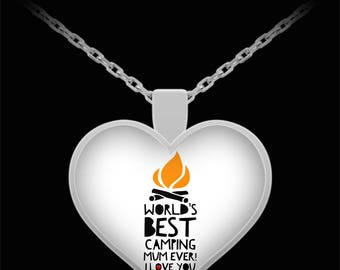 WORLD'S BEST Camping Mum! Silver Plated Necklace