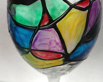 Stained Glass Wine Glass