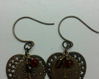 Filigree Leaf Tree of Life with Crystals Earrings