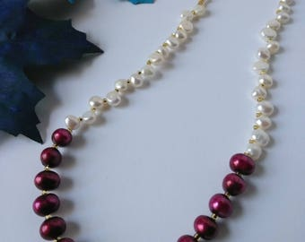 Pearl Necklace Set/ Freshwater Pearl Necklace Set/ Yellow, Pink, and White Pearl Necklace Set