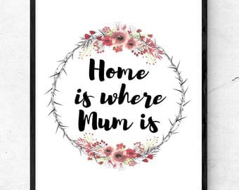 Home is where Mum is A4 Quote Poster Print - Mothers day gift! Home decor