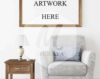 Wood Frame Mockup, Wood Landscape Frame, Styled Stock Photograpy, Scandinavian Style Interior, PSD Mockup, Digital Item, Modern Design
