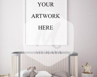 Nursery White Frame Mockup, Wood Frame Mockup, Styled Stock Photograpy, Scandinavian Style Interior, PSD Mockup, Digital Item, Modern Design