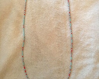 Seed Bead Necklace // Blue // Salmon // Multicolored // Long
