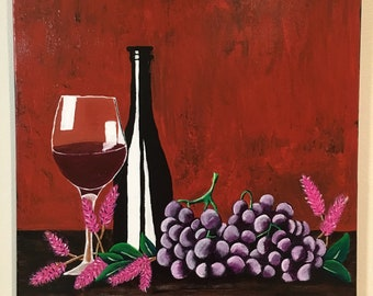 BICCHIERE DI VINO - Wine acrylic painting on 16x20 stretched canvas