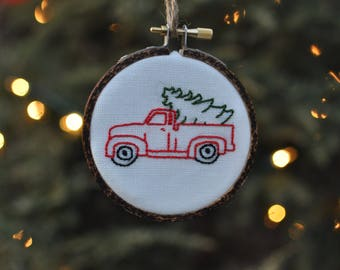 Farm Truck with Christmas Tree Hand Embroidery Ornament and Wood-Burned Hoop-Christmas Tree Truck-Vintage Truck-Red Truck-Christmas Ornament