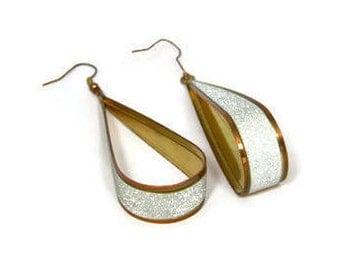 Vintage Metal Earrings, Teardrop Hoops, Copper Look, Dangle Earrings, Sparkly Earrings, Boho Jewelry