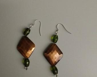 Bronze & Olive Dangle Earrings