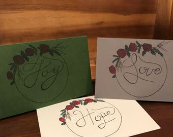 Set of 3 floral greeting cards