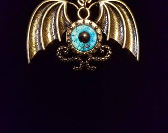 Eye See You, bat, eyeball, winged eyed pendant necklace