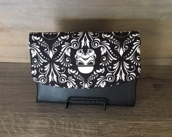 Boon Wallet, Darth Vader Fabric, Damask, Black Faux Leather / Vinyl, Star Wars, Jedi, Black and White