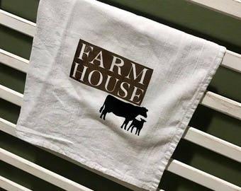 Farm House w/ Cow Tea Towel
