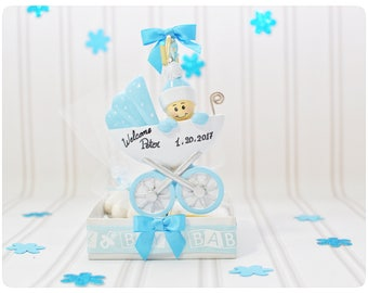 Baby carriage favors, Unique, personalised, bomboniere, baby boy, carriage, blue, resin, ornaments, favors, keepsake, tulle, satin, stand