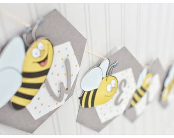 Welcome baby, personalized, bumble bees, bumble bees decorations, handmade, decorations, baby welcome party, Baby boy, baby girl, hand drawn