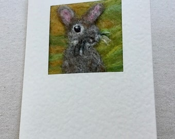 Needle felted greetings card - wild  rabbit