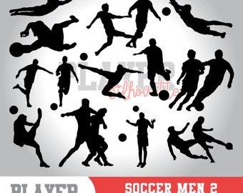 Soccer Men SVG, Soccer player svg, Soccer digital clipart, athlete silhouette, Soccer Men sport, cut file, design, A-016