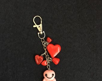 Lovely Keychain,People Keyring, Polymer Clay Keyring,
