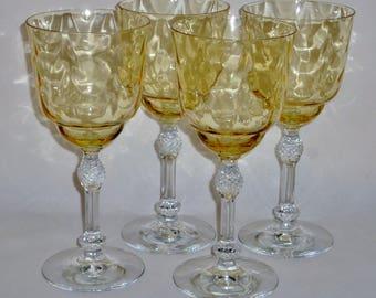 4 Fostoria TOPAZ 6007 OPTIC Loop Water Crystal Goblets Vintage glasses stemware etched Elegant Glass Hollywood Regency Yellow