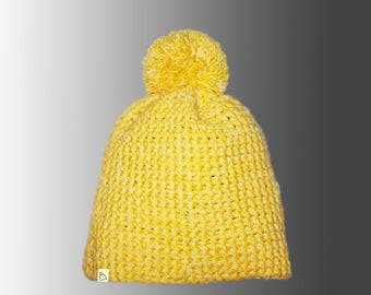Handmade Plain or Stripy Custom Crochet Warm Winter Bobble Hat Bespoke Pompom Hat