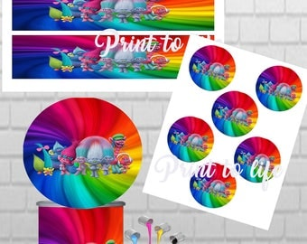 Trolls PRINTABLE Pringles Can labels with matching toppers 1.3 oz mini can-Download