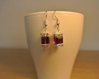 Swarovski earrings. Cube earrings. Sparkling earrings. Valentines gift. Gift for her.