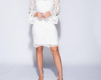 Crochet Lace Bell Sleeve Bodycon Dress