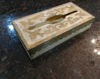 Italian / Gilt / Tissue Box / Vintage