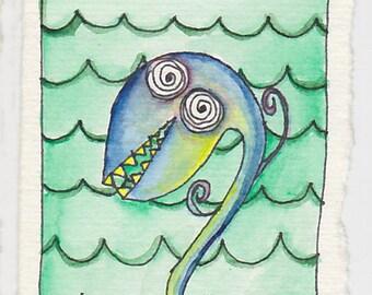 Sea Monster - Original Watercolor