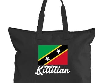 Saint Kitts Tote Bag | Caribbean Canvas Tote for West Indian Women | School, University, International, Caribbean Island Hand Bags for Books