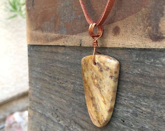 Natural Stone Pendant / Handmade Stone Necklace / Artisan Animal Print Pendant