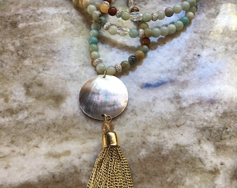 Amazonite Beaded Necklace with Shell and Chain Mail Tassel Drop